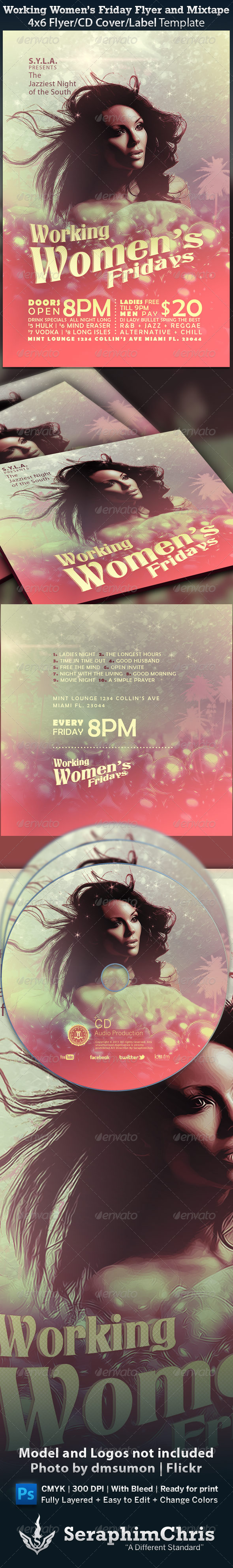 GraphicRiver Working Women s Fridays Flyer and Mixtape 1216569