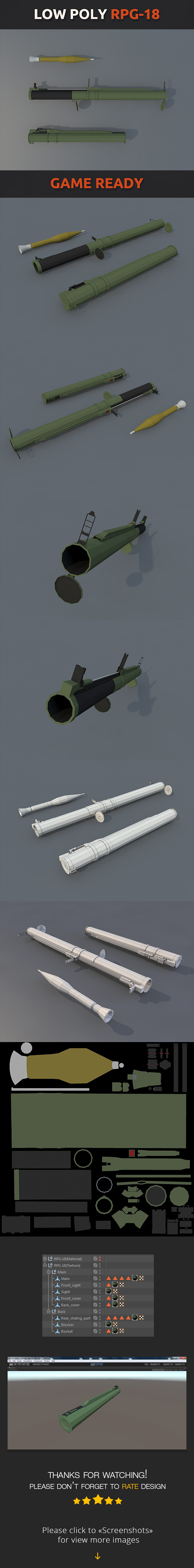 Low Poly RPG-18 - 3DOcean Item for Sale