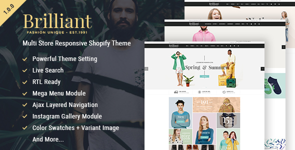 Brilliant - Multi Store Responsive Shopify Theme