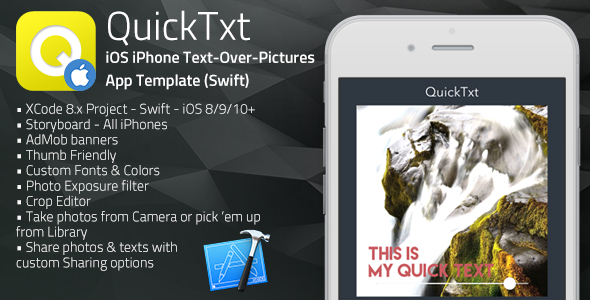 QuickTxt | iOS iPhone Text on Photos App Template (Swift)