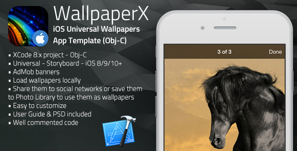 WallpaperX | iOS Universal Wallpapers App Template (Obj-C)