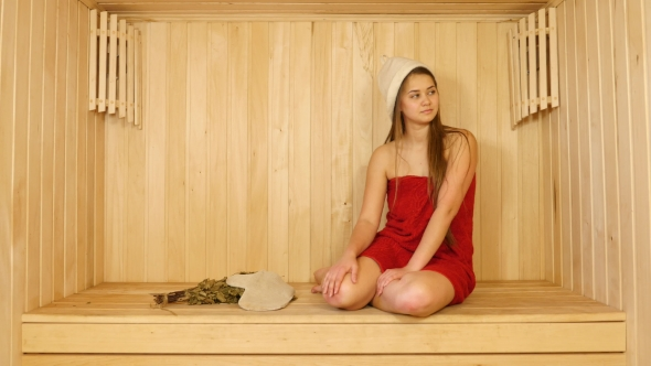 Download Girl in Red Towel in Sauna nulled download