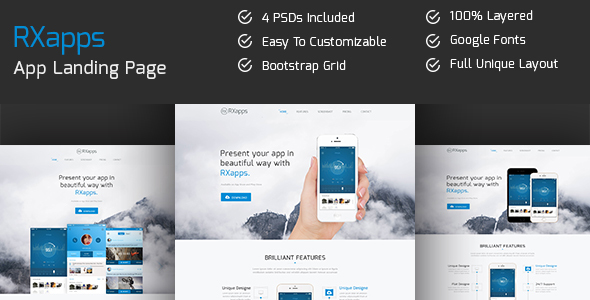 RXapps - App Landing PSD Template