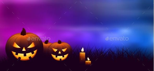 Halloween Pumpkins With Candles.