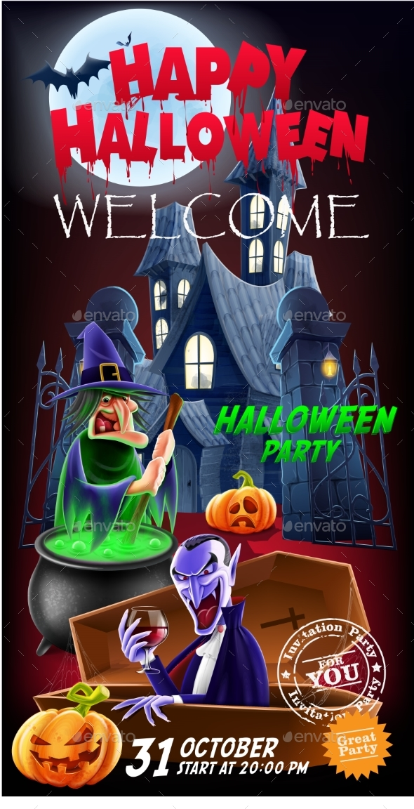 Invitation Flyer for a Party Halloween