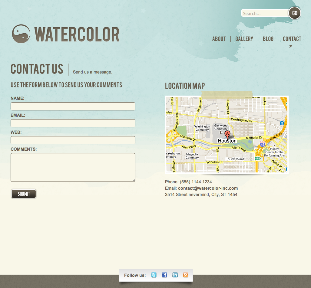 Watercolor WordPress - Validation contact form