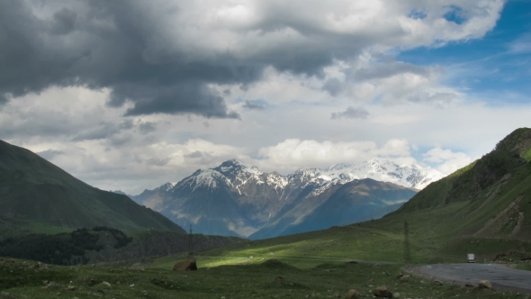 Download Clouds Moving Over The Georgian Mountains. Mount Kazbek. nulled download