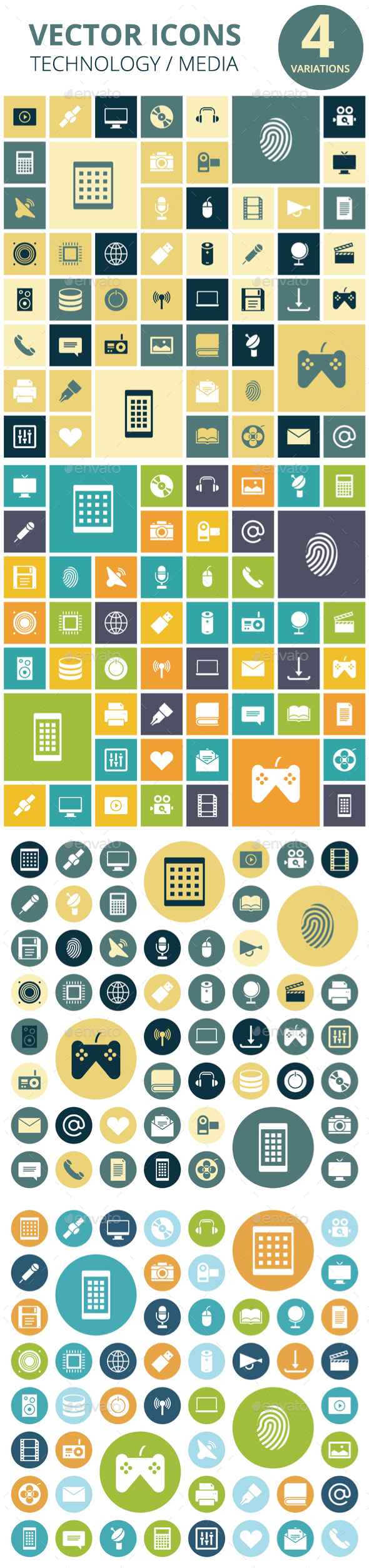 Flat Design Icons for Technology and Media