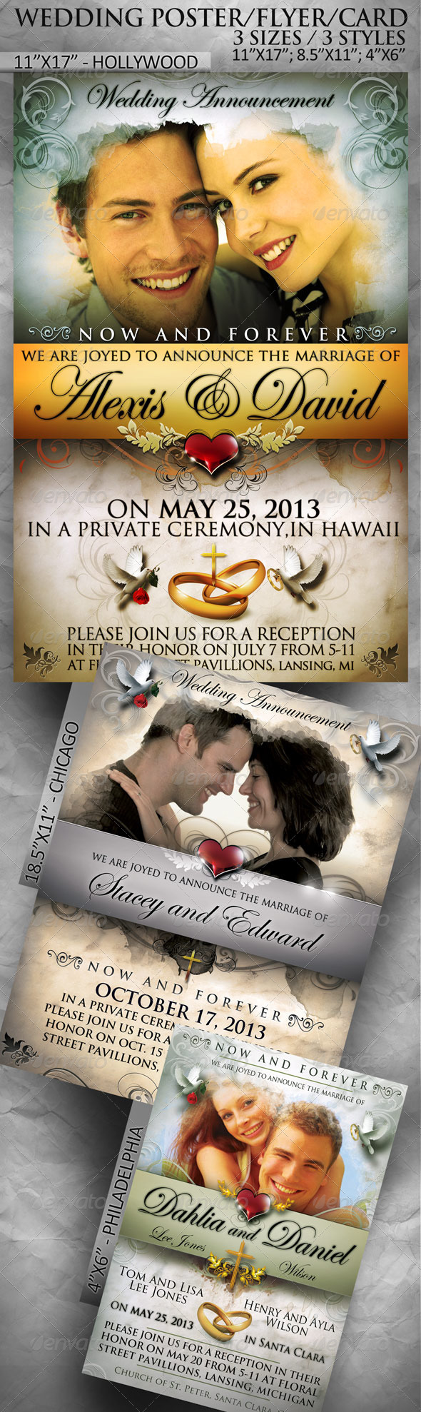 Wedding Poster / Flyer / Card in 3 sizes - Weddings Cards & Invites
