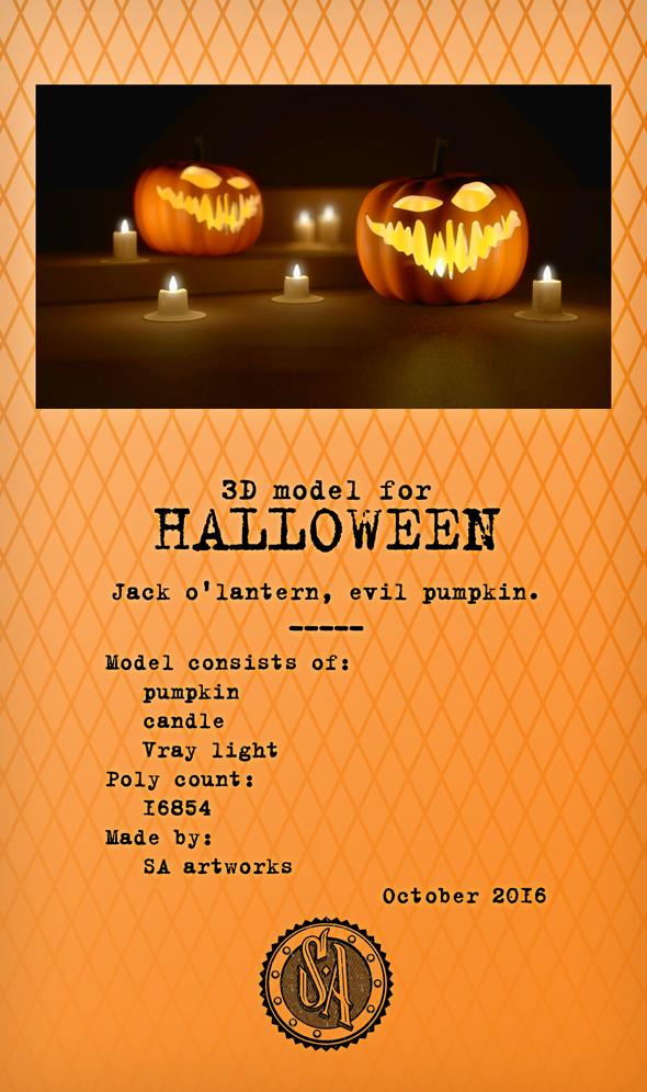 Evil Halloween Pumpkin - 3DOcean Item for Sale