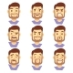 Bearded Hipster Man Character Emotions