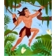 Tarzan Swinging on Vines