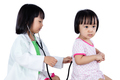 Asian Chinese Little Sister Role Playing As Doctor and Patient