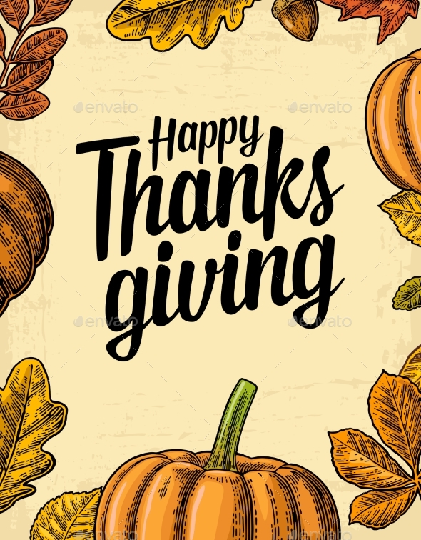 Thanksgiving Day Poster with Leaves and Pumpkin
