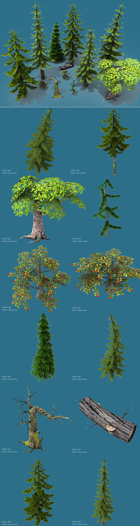 3DOcean Low Poly Forest Pack Trees Only 1804102