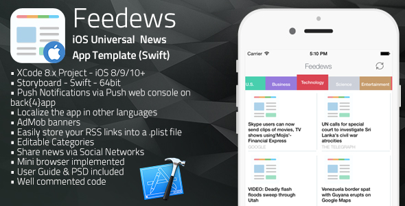 Feedews | iOS Universal News App Template (Swift)