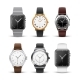 Classic Watches Isolated On White Vector Set