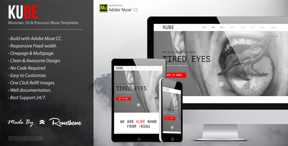 Kube - Musician, DJ, Band, Music Muse Template