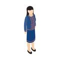 Female singaporean icon, isometric 3d style