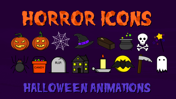 VideoHive Horror Icons 18326328