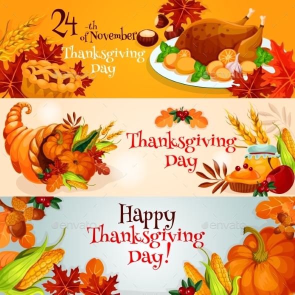 Thanksgiving Day Banners with Traditional Elements