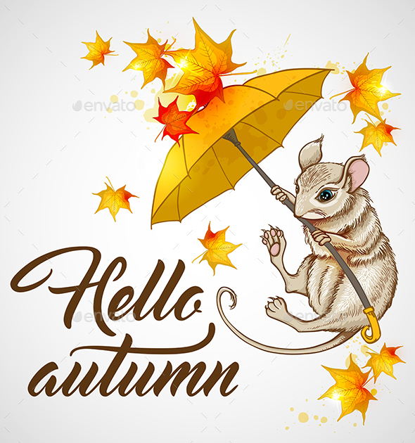 Autumn Background with Mouse