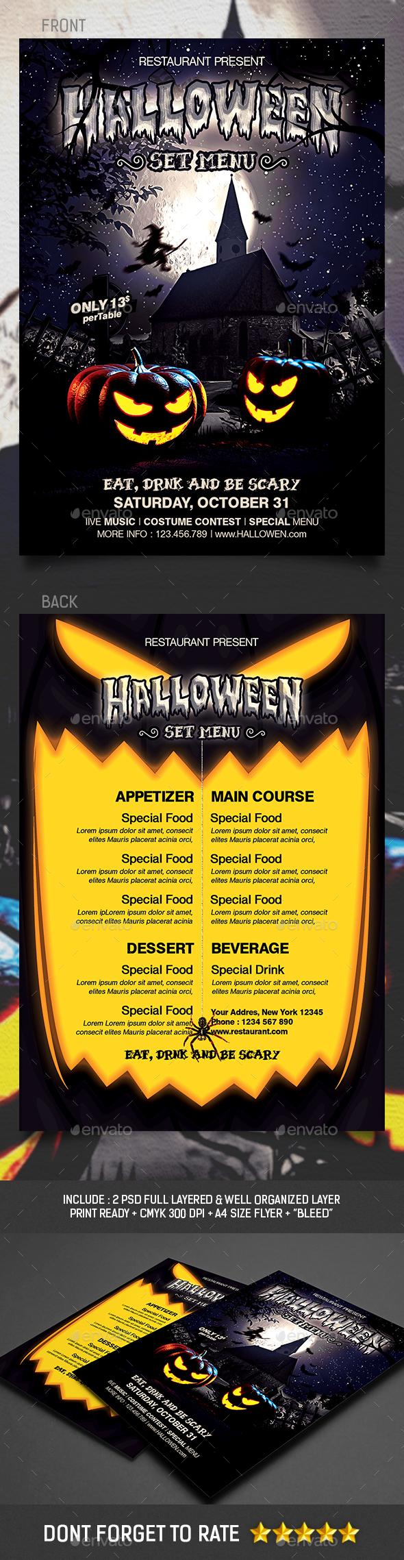 Halloween Set Menu Templates