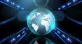 earth globe over black background and laser light