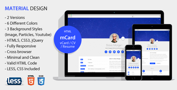 mCard - Material vCard / CV / Resume / Personal Template
