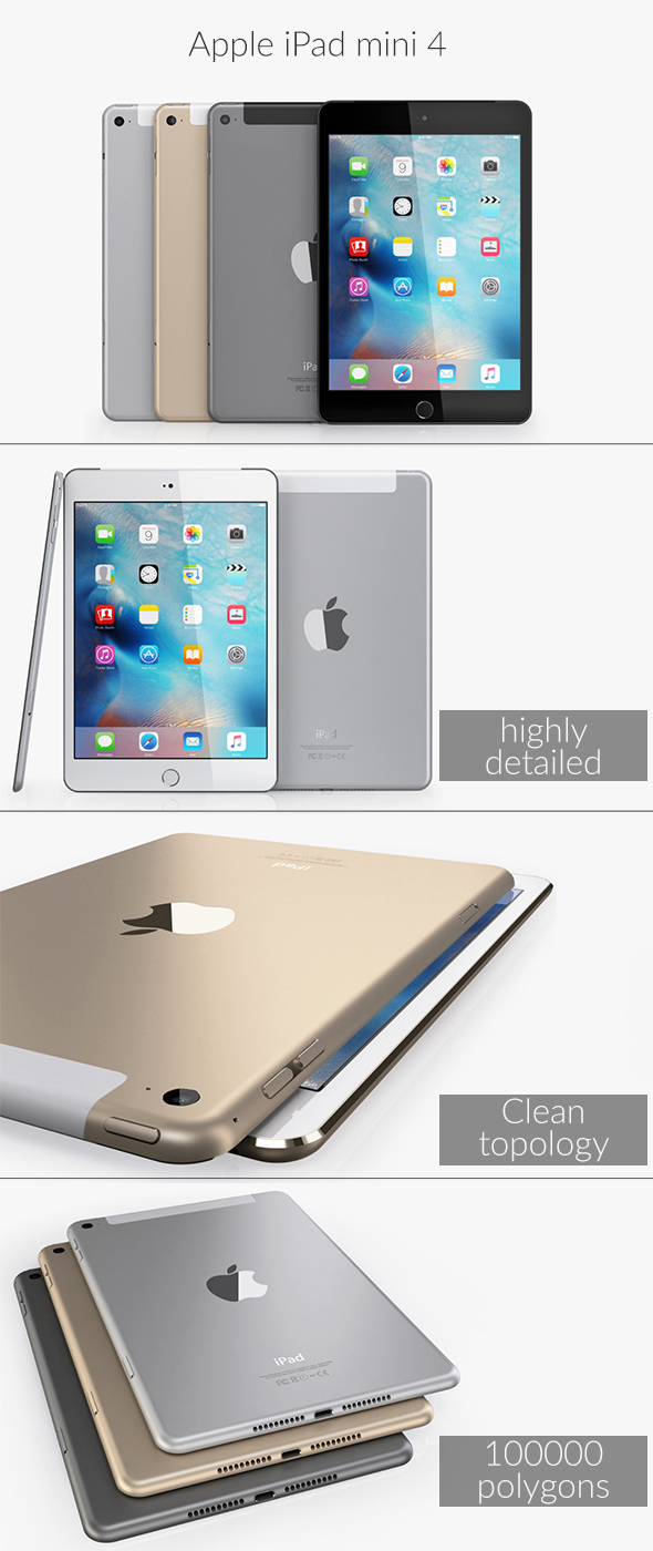 Apple iPad mini 4 - 3DOcean Item for Sale