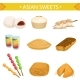 Asian Sweets Famous Dishes Illustration Set