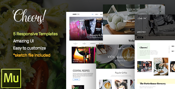 Cheers! Food & Restaurant Responsive Muse Templates