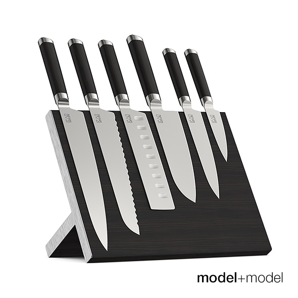Knives set with stand and wall holders - 3DOcean Item for Sale