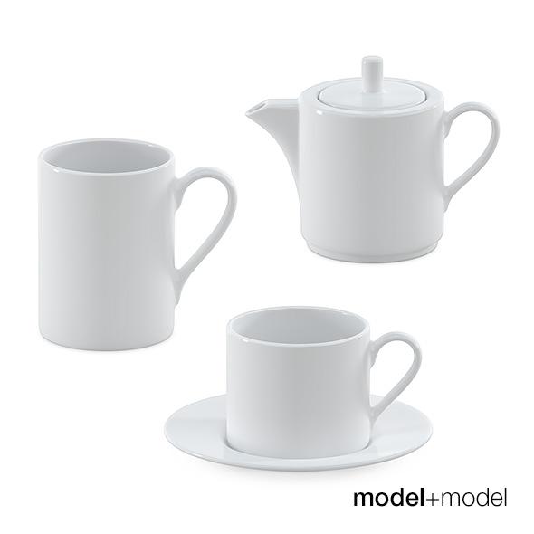 White ceramic tea set - 3DOcean Item for Sale