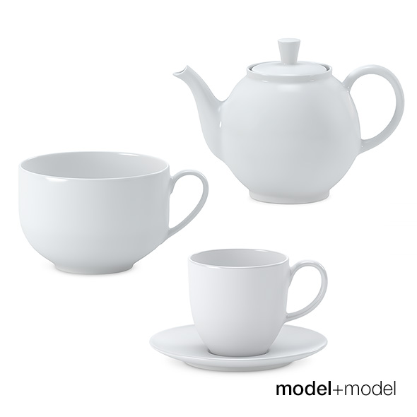 White ceramic tea set - 3DOcean Item for Sale
