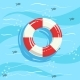 Classic Life Preserver Ring Buoy With Blue Sea