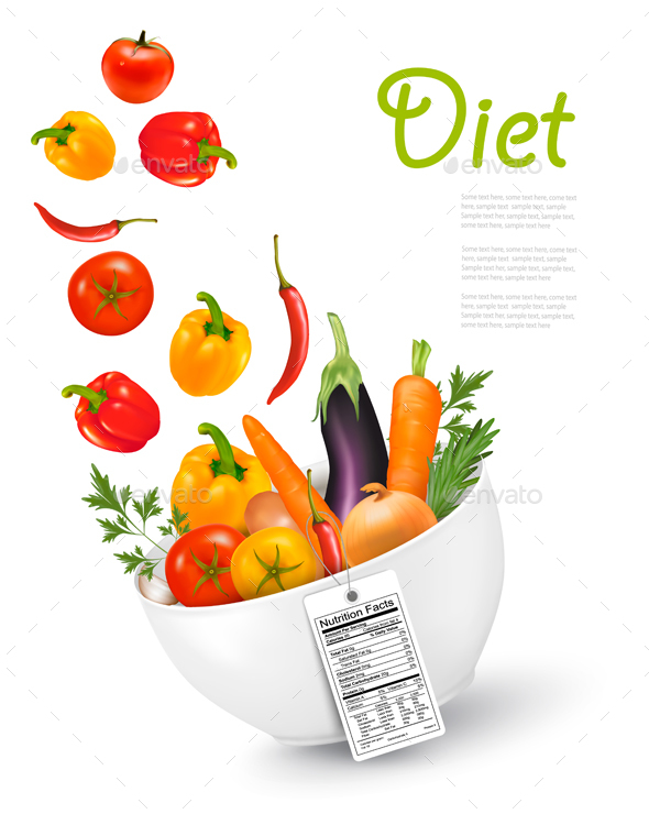 Fruit In A Bowl With A Nutritional Label Concept Of Diet. Vector