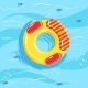 Toy Inflatable Ring With Blue Sea Water