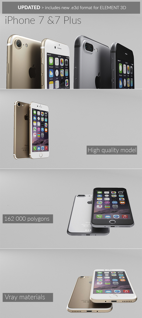 Element 3D -  iPhone 7 & 7 Plus - 3DOcean Item for Sale