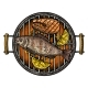 Barbecue Grill Top View With Charcoal, Fish Steak