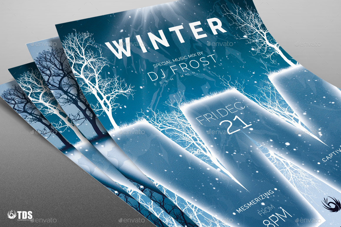 Minimal Winter Flyer Template by lou606 – Winter Flyer Template