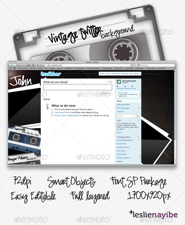 GraphicRiver Vintage Twitter Background 70540