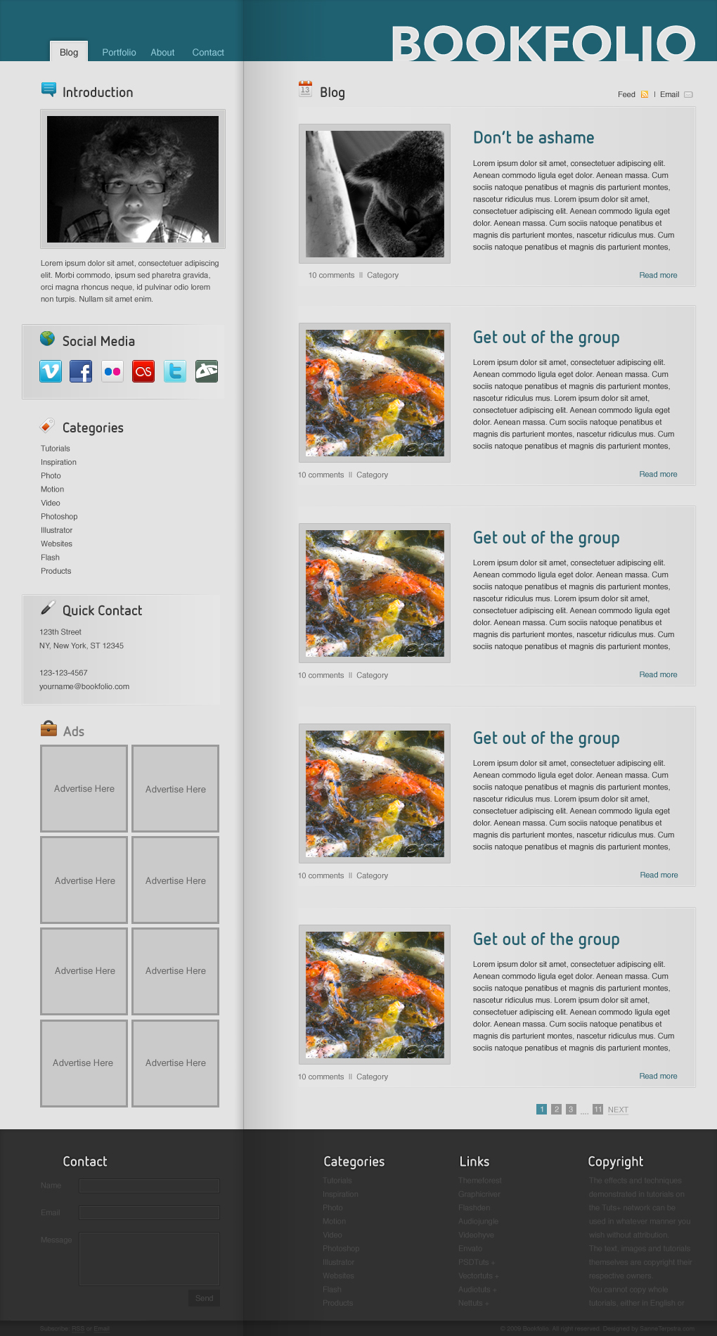 BookFolio - Blog / Personal site - PSD File  BookFolio - The blog page