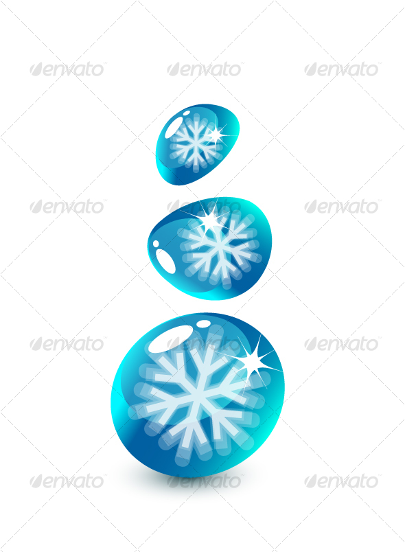 Snowflakes inside droplets - Decorative Symbols Decorative