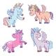 Cute Cartoon Miracle Unicorns Vector Set