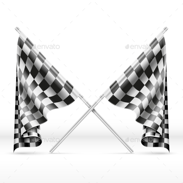 Black And White Checkered Crossed Finish Flags