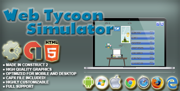 Web Tycoon Simulator - HTML5 Game+AdMob+Construct-2 CAPX