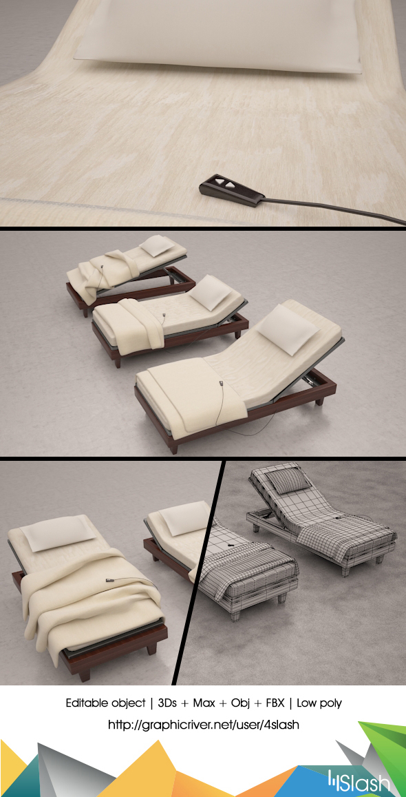 3d Low poly Outdoor Beds - 3DOcean Item for Sale