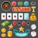 Set Of Casino Gambling Game Sticker Objects And