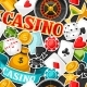 Casino Gambling Seamless Pattern With Game Sticker